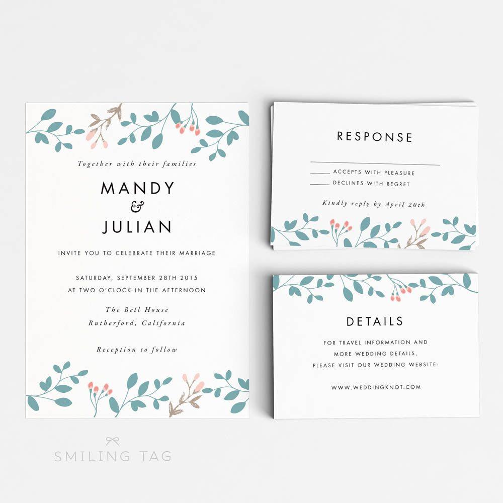 Printable Wedding Invitation Suite - Romantic Botanical Wedding ...