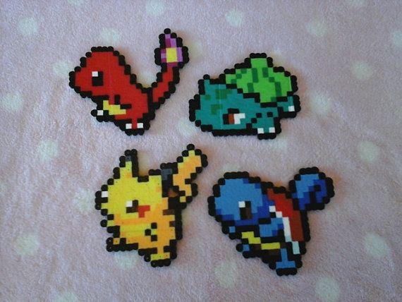 Perler Bead Pokemon: Pikachu, Bulbasaur, Squirtle or