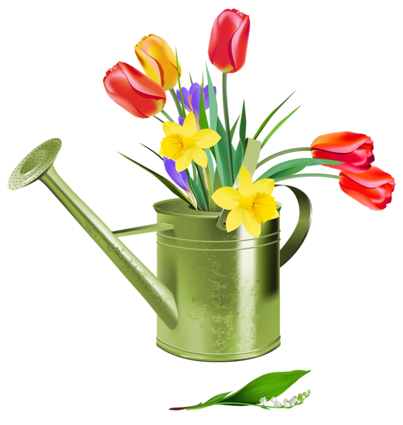 Green Watering Can with Spring Flowers PNG Clipart ...
