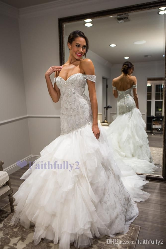 Discount 2014 New Arrival Sexy Off the Shoulder Sheath Court Train Organza Crystal Sequin Beads Wedding Dresses Online with $183.65/Piece | DHgate