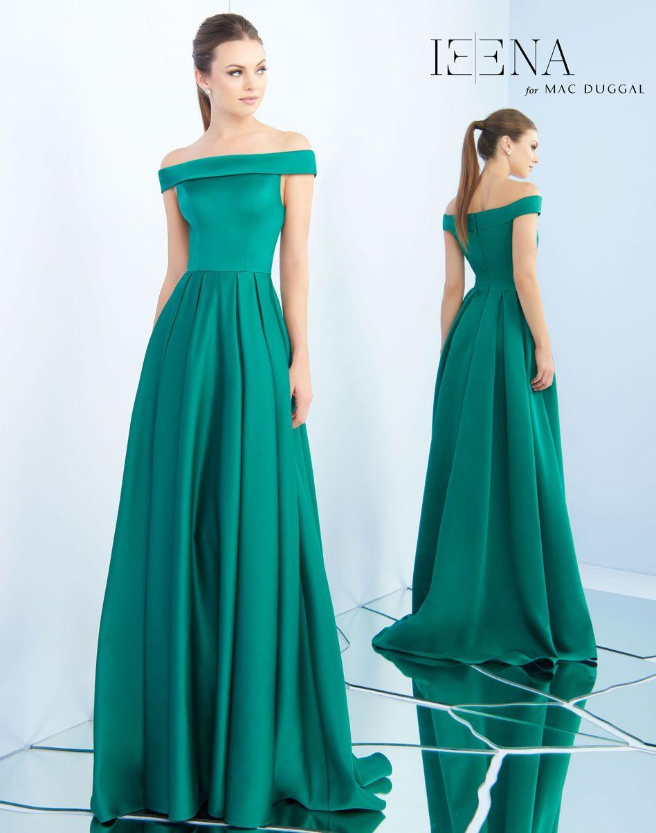 Mac duggal ieena emerald green off the shoulder ypsilon dresses prom