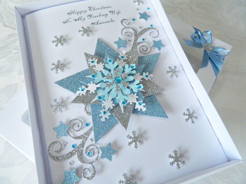 Luxury Personalised Handmade Christmas Card Husband Wife