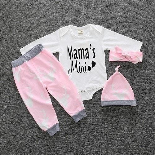 Baby girl clothing set style baby suit long-sleeved romper + pants + hat 3pcs newborn baby clothes