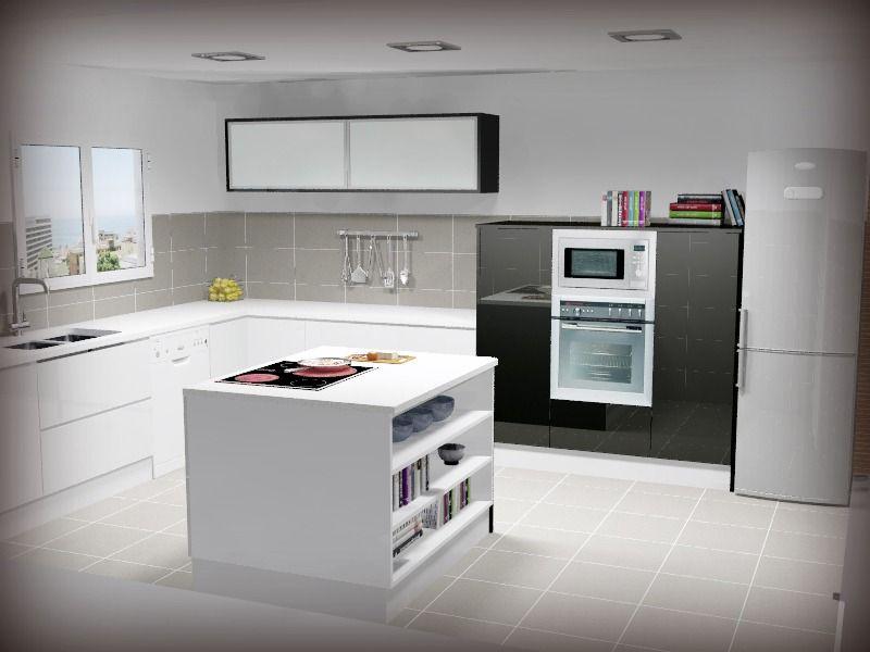 Cocina con isla en blanco y negro, semicolumnas y vitrinas apaisadas. Fregadero bajo encimera