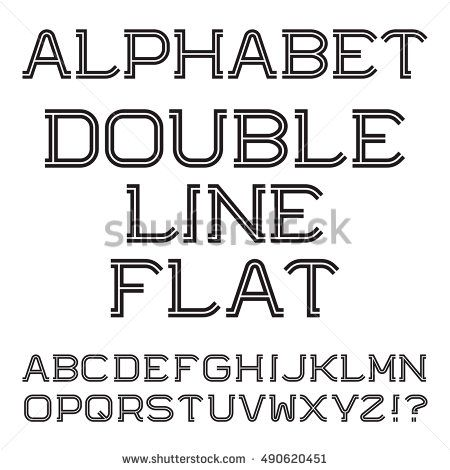 Black White Capital Letters Double Line Flat Font Isolated