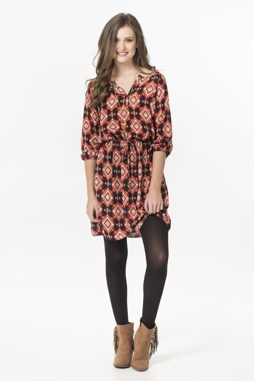 597dd25fd2c Black & neon coral tribal peasant dress - Dresses - Clothing | Fall ...