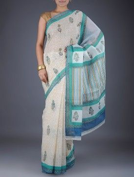 White-Green Foil Printed Kota Doria Cotton Saree