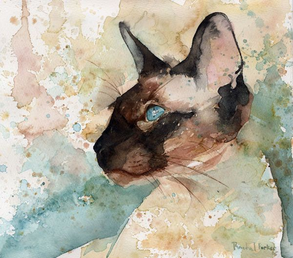Giclee Print of Siamese Cat Watercolor Art Painting Lilac Point Custom Gift