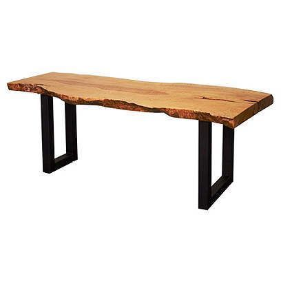 The top is nice; what do the legs have to do with the top?  Design a more cohesive leg for this bench and use with a slice of cherry for the top. AS