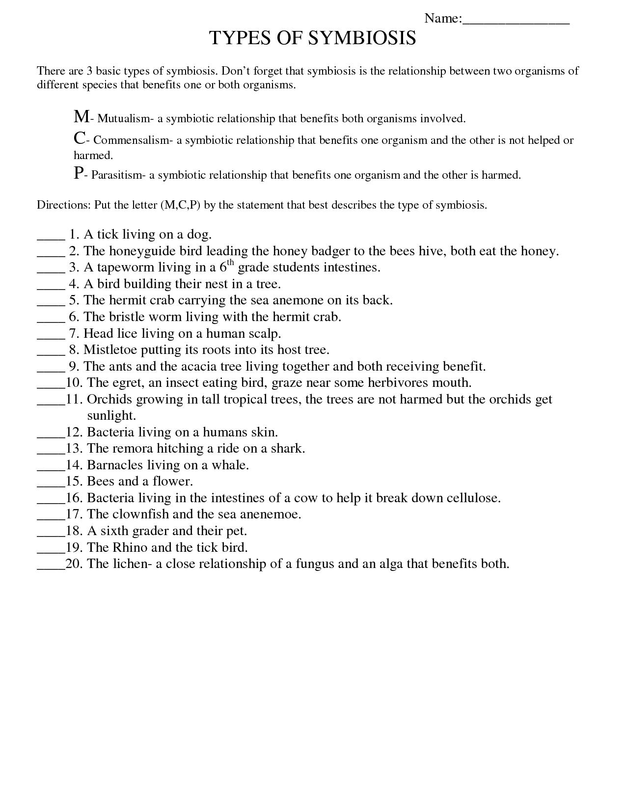 Symbiosis Worksheet Free Printable Worksheets On High School Bio Fungi Healthyou