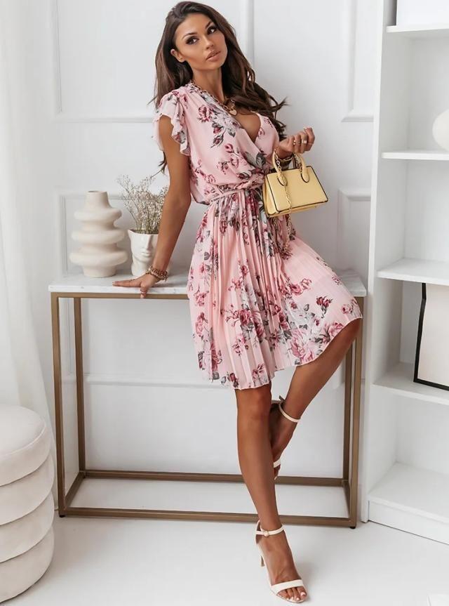 Floating Sleeve Waist-Tight Floral Pleated Dress - Black / L