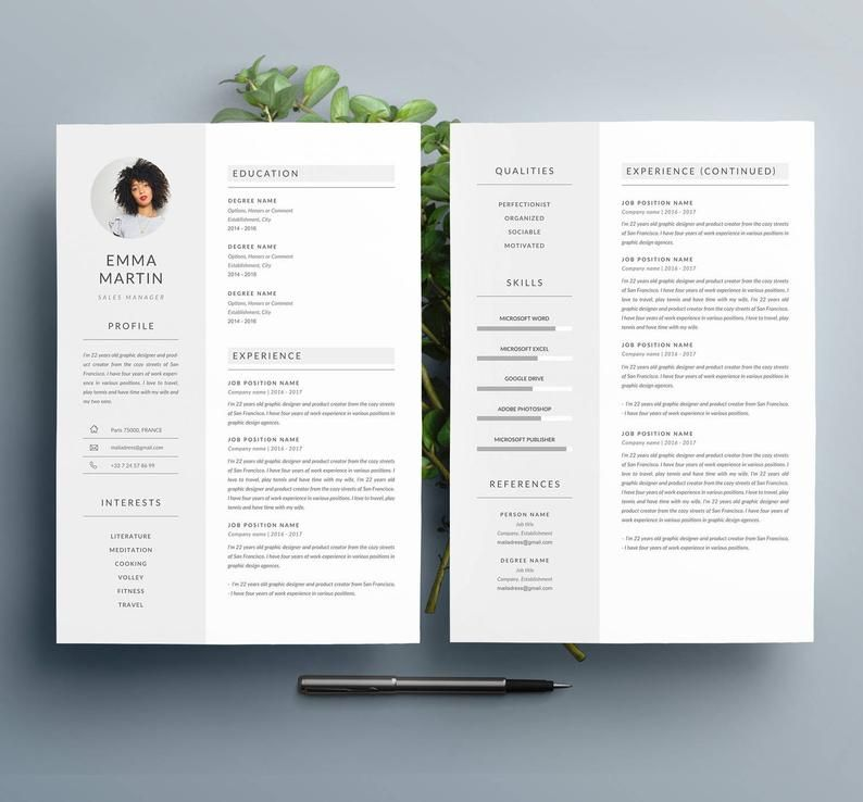 "Modern Resume Template ""EMMA"" & Cover Letter 4 Pages"