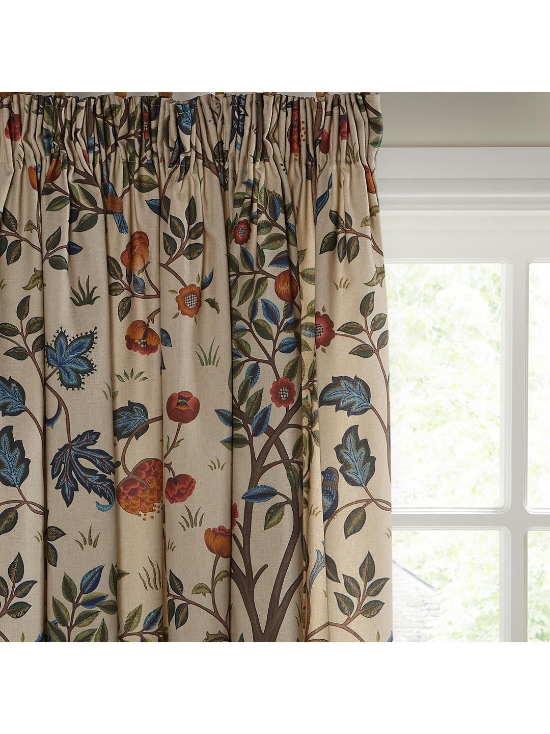 8e73db3bc1d1 Kelmscott Tree Pair Lined Pencil Pleat Curtains, Multi, W167 x Drop 182cm  Online at johnlewis.com