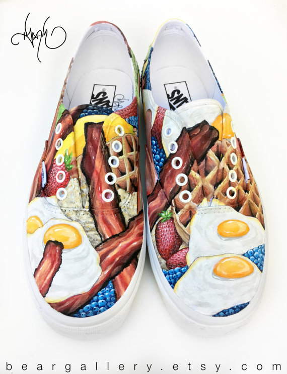 Custom Painted Breakfast Vans Shoes Hand Painted Breakfast