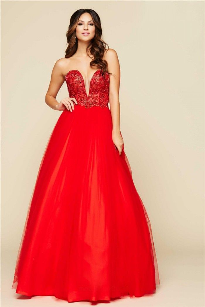 Sexy A Line Plunging Neckline Long Red Tulle Beaded Prom Dress