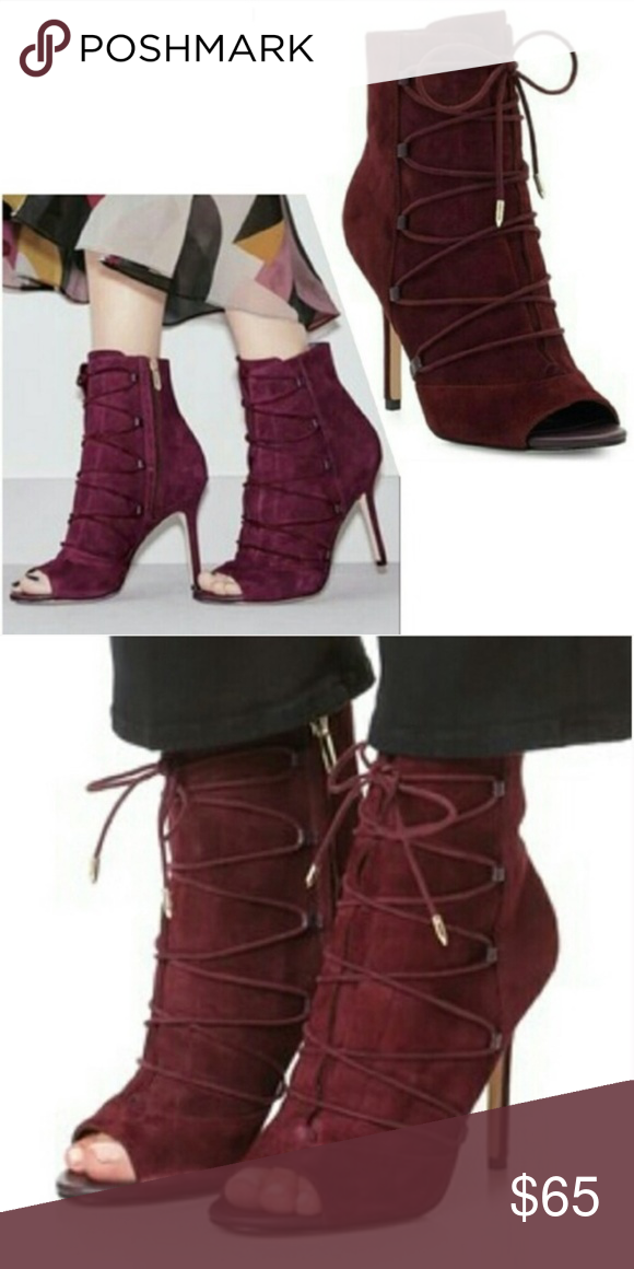 54206cf5ae503 Sam Edelman Asher Lace Up Peep Toe Suede Bootie Color is Port Wine 4
