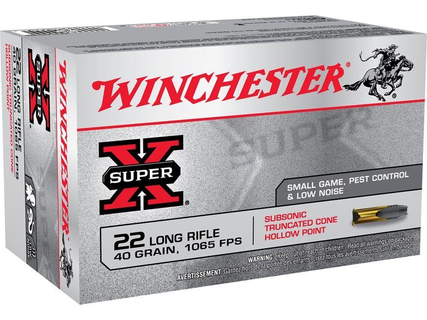 Winchester SuperX Ammunition 22 Long Rifle 40 Grain Lead