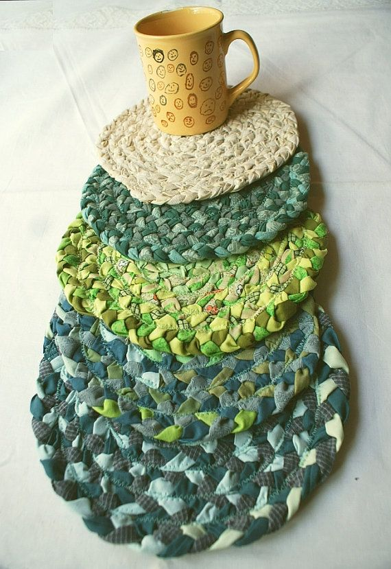 Green teal blue round coaster from recycled clothing by annakrycz, $13.00