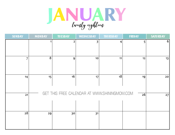 Free Printable 2018 Calendar: Pretty and Colorful! | Free ...