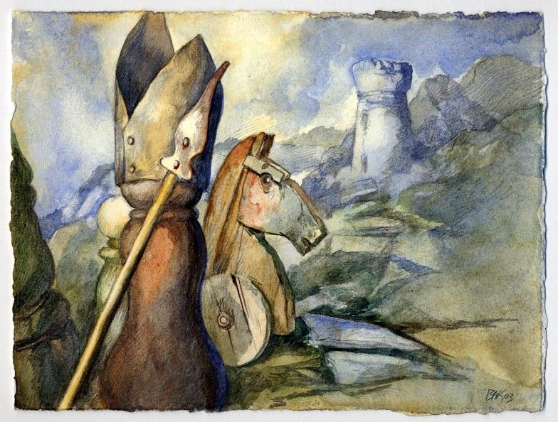 Bishop, Knight and Rook by Samuel Bak, watercolor.
