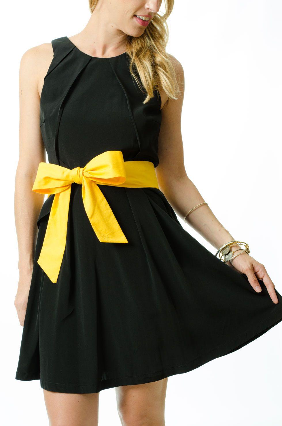 Black dress yellow sash - Black Dress Yellow Sash 2