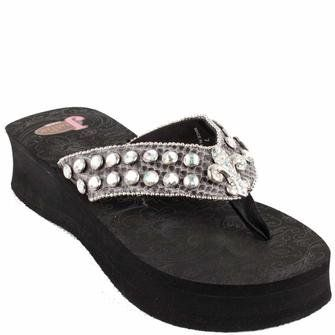 1f0e4f3dc Justin Flip Flops Kayla Black Wedge with Fleur de Lis and Clear Crystals Bling  Bling Ya ll!