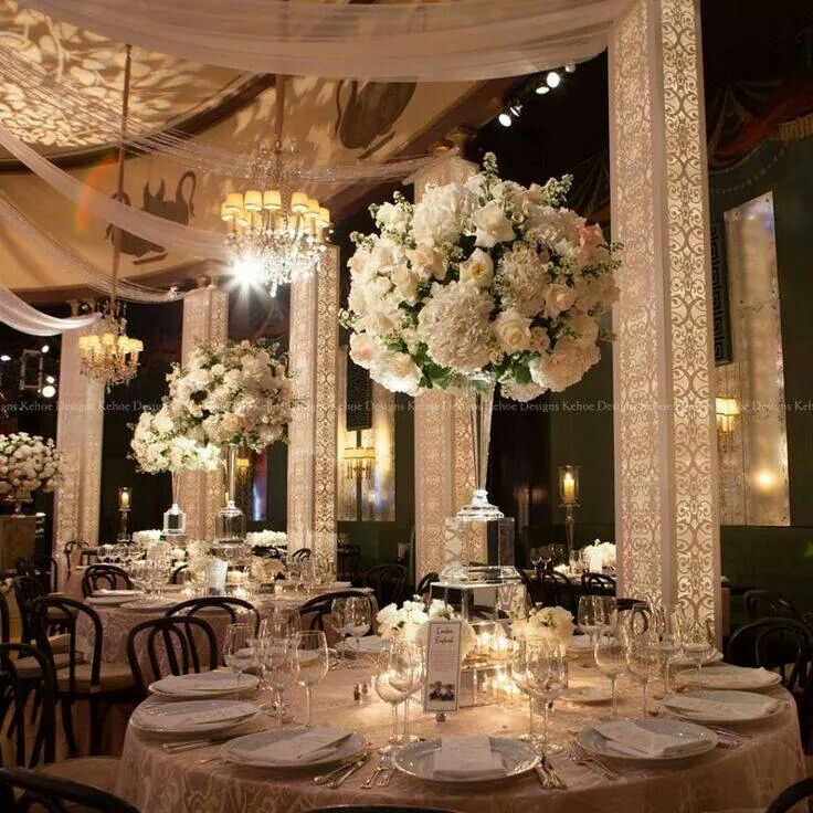 White Luxury Wedding Decor With Wonderful And Beautiful: Upscale Wedding Decor, Indian Wedding Decorations