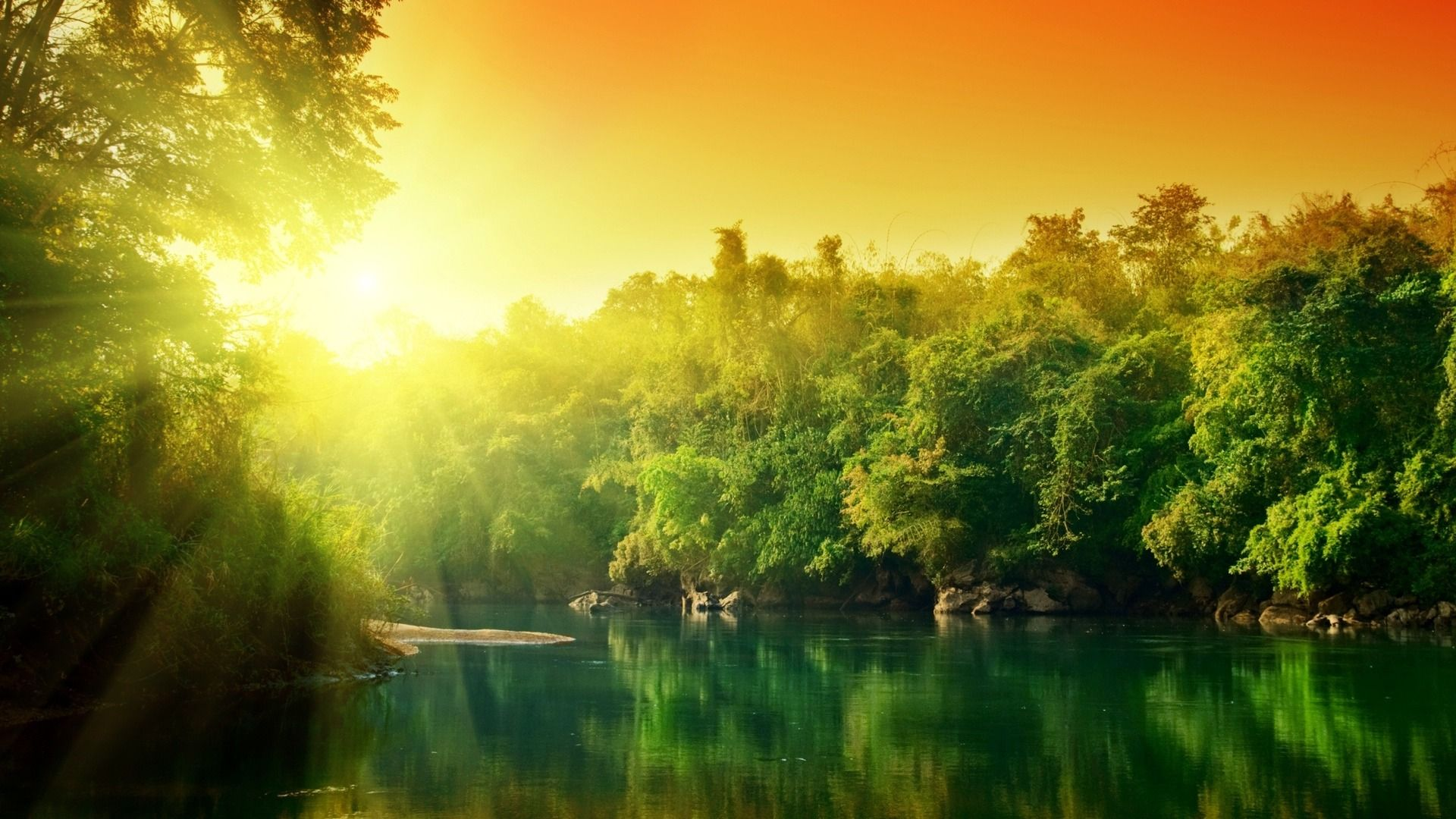 Sunrise Over The Green Nature And Lake Hd Nature Wallpaper