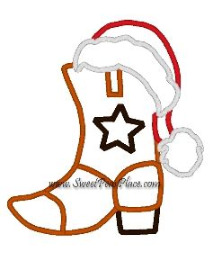 Cowboy with Santa Hat Embroidery Applique Design www.sweetpeasplace.com