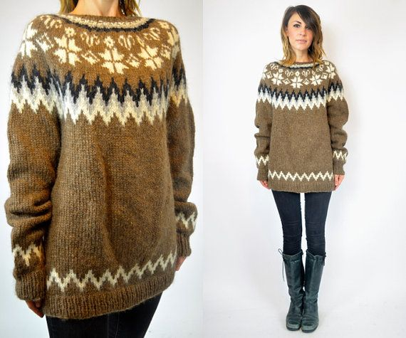 oversized boho FAIR ISLE folk scandinavian nordic SWEATER jumper ...