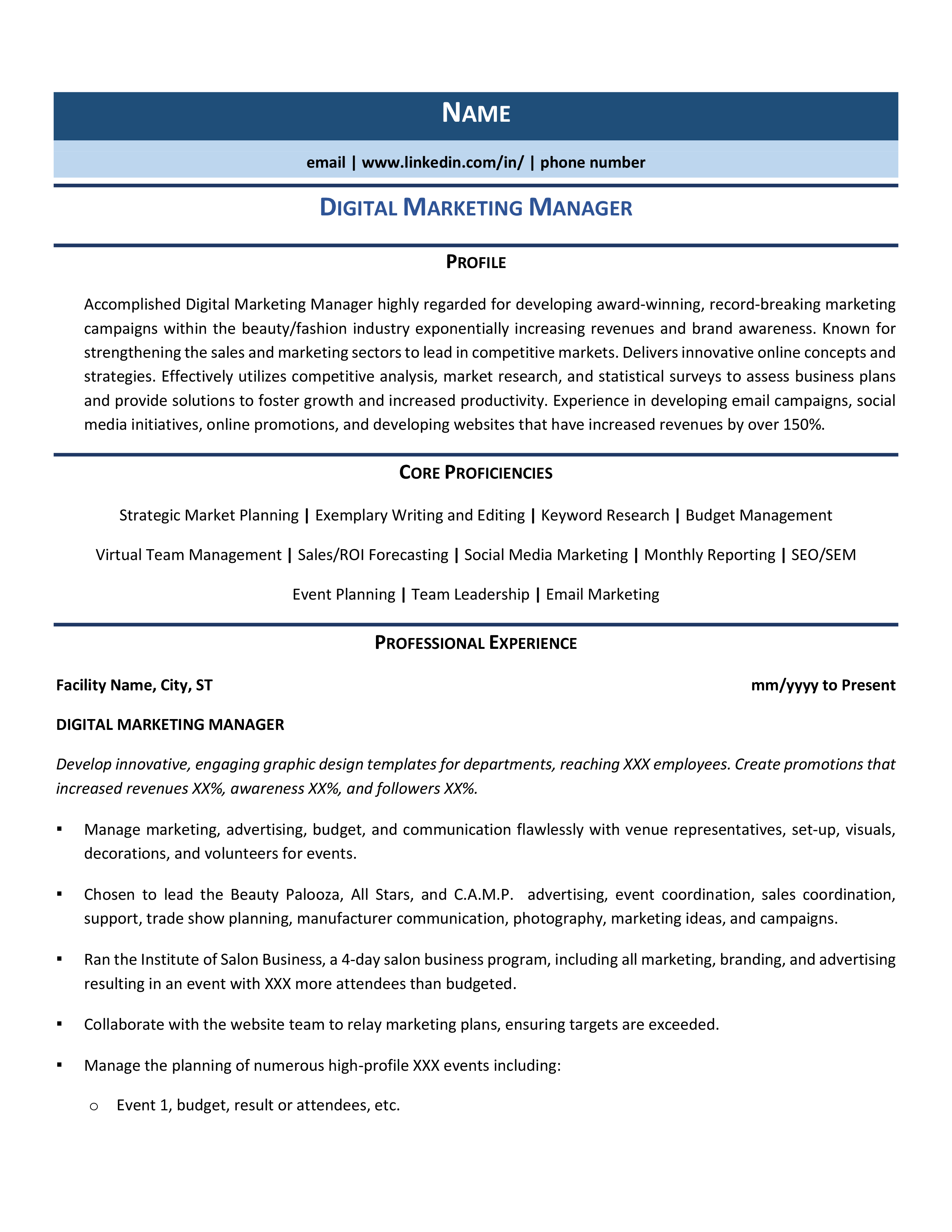 Digital Marketing Manager Resume Samples Template Guide Digital Marketing Manager Manager Resume Digital Marketing