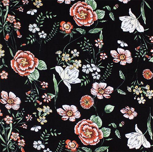 0735f229339 Drawn Botanical Floral on Black Cotton Spandex Blend Knit Fabric - Hand  drawn botanical floral design