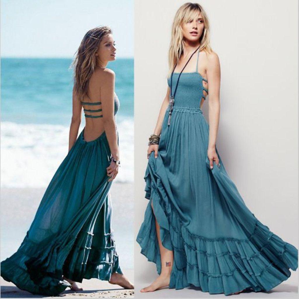 Bohemian Backless Pleated Ruffle Women Maxi Dress | Daisy dress ...