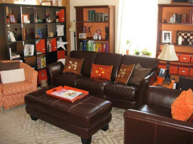 Perfect Orange Accents On Our Brown Couches? Love The Boxes On The Bookshelf. Need  These · Grey Color SchemesLiving Room ... Awesome Design