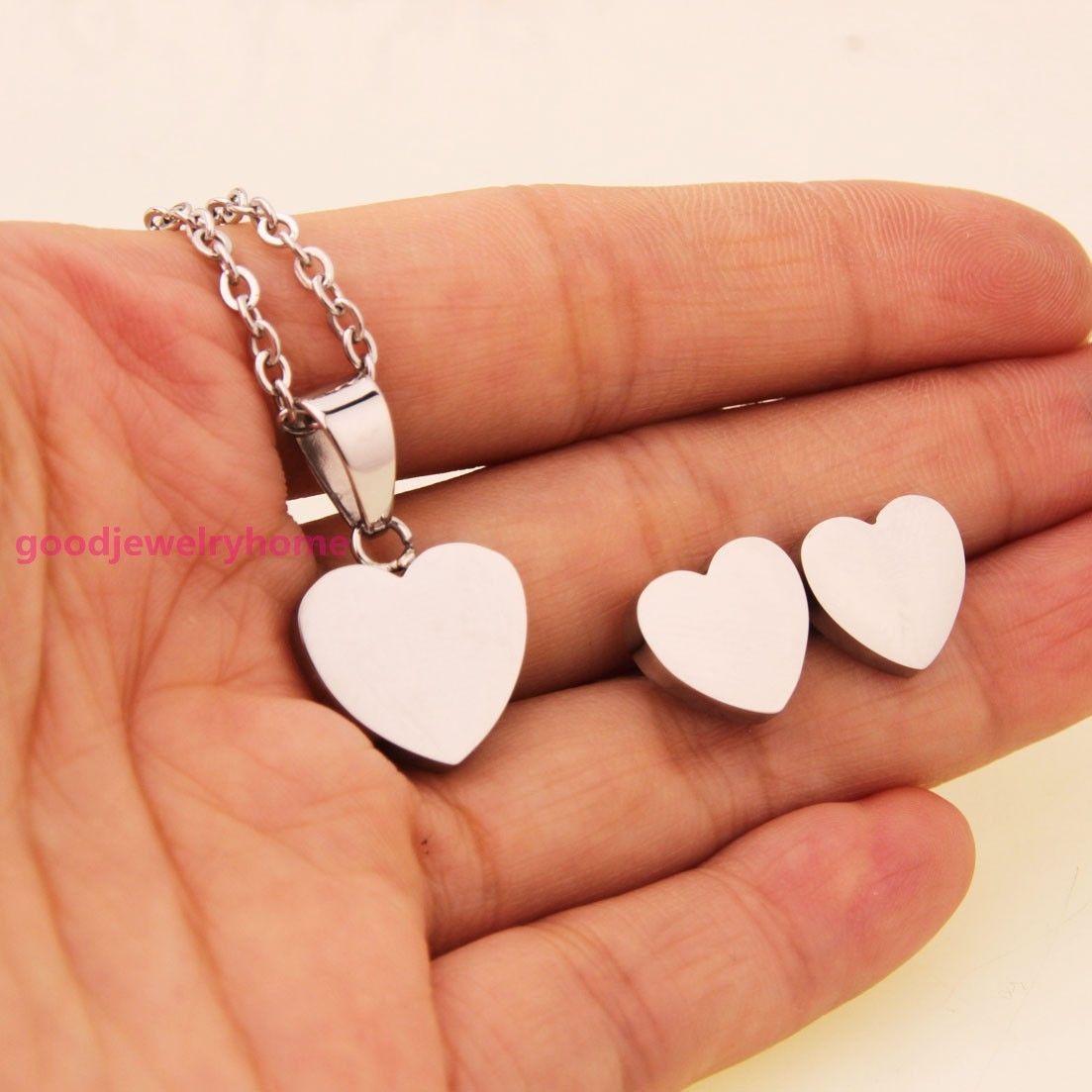 New womenus stainless steel silver heart pendant necklace earrings