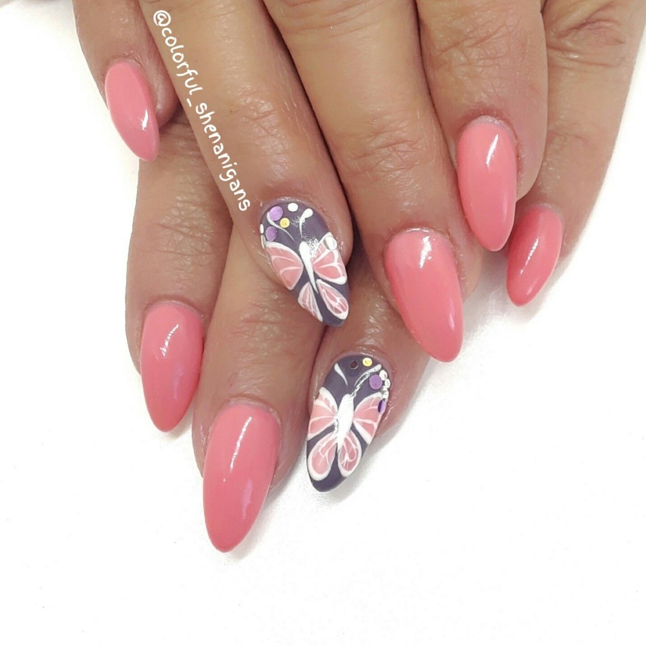 Colorful Shenanigans Butterfly nail art utah county nail