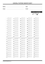 Classic bubble, 4 choice (A B C D) answer sheet (1-100 ...