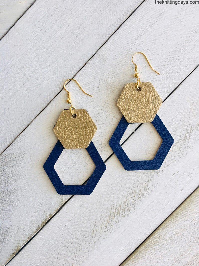 Statement Unique Stylish Very Lightweight Modern Teardrop Navy Blue White Gold Teardrop Polymer Clay Gold Hook Earrings