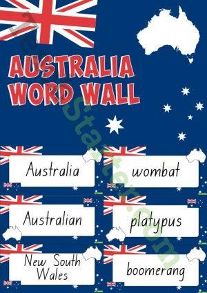 Australia Themed Word Wall | The Australian Continent | Pinterest ...