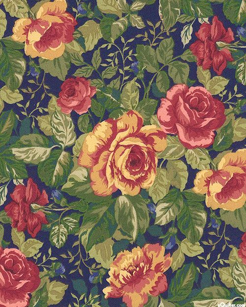 Tailor Made - Retro Vintage Roses - Navy - FLANNEL