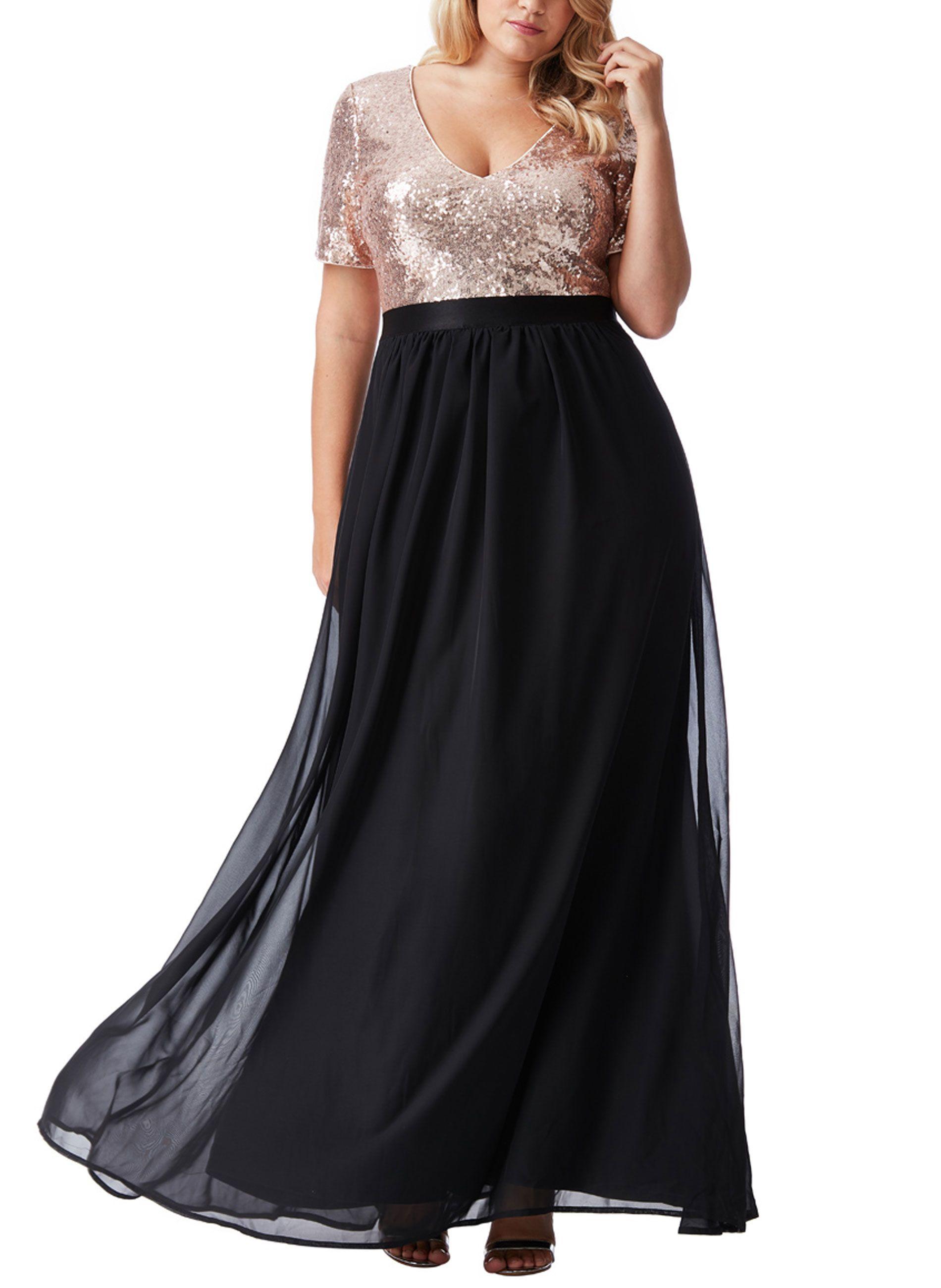 865dbcb4fe7b Αμπιγέ μάξι φόρεμα με χρυσή παγιέτα στο πάνω μέρος και μαύρη μουσελίνα στο  κάτω μέρος.
