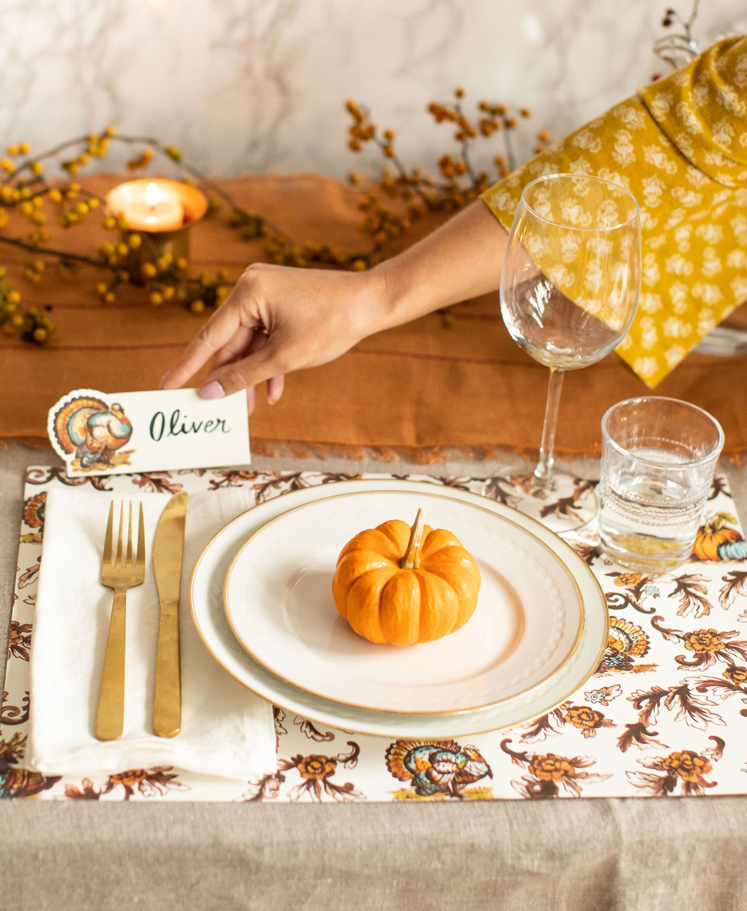 Thanksgiving Toile Placemat 24 Sheets Simple Thanksgiving Table Thanksgiving Table Settings Simple Thanksgiving Table Decorations
