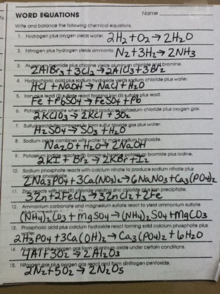 Chemistry Chemical Word Equations Worksheet Answers Delibertad – Balancing Equations Worksheet Answer Key