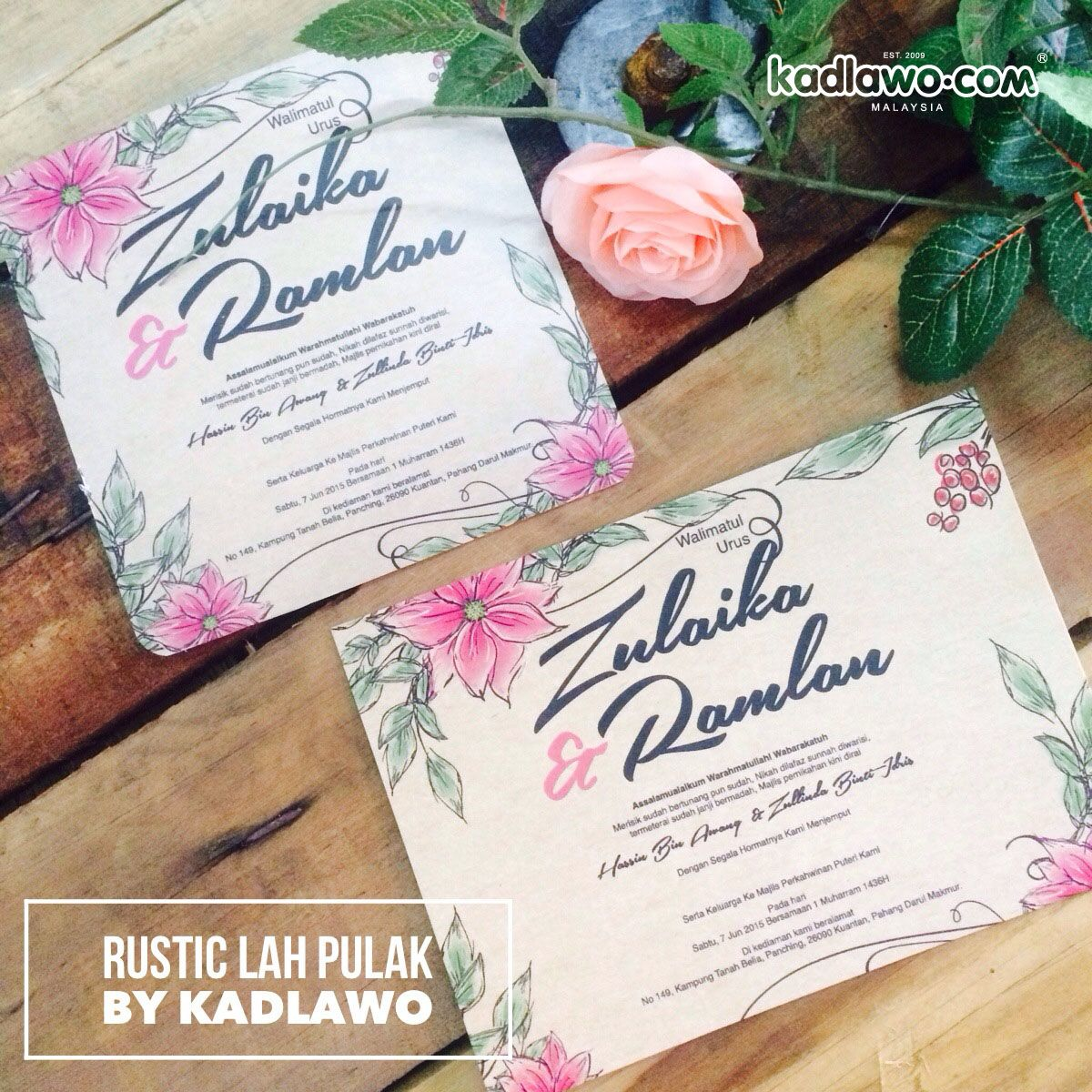 what to charge for wedding invitations%0A Rustic lah Pulak Series Card  Vintage flower with kraft background  Rustic  wedding feeling