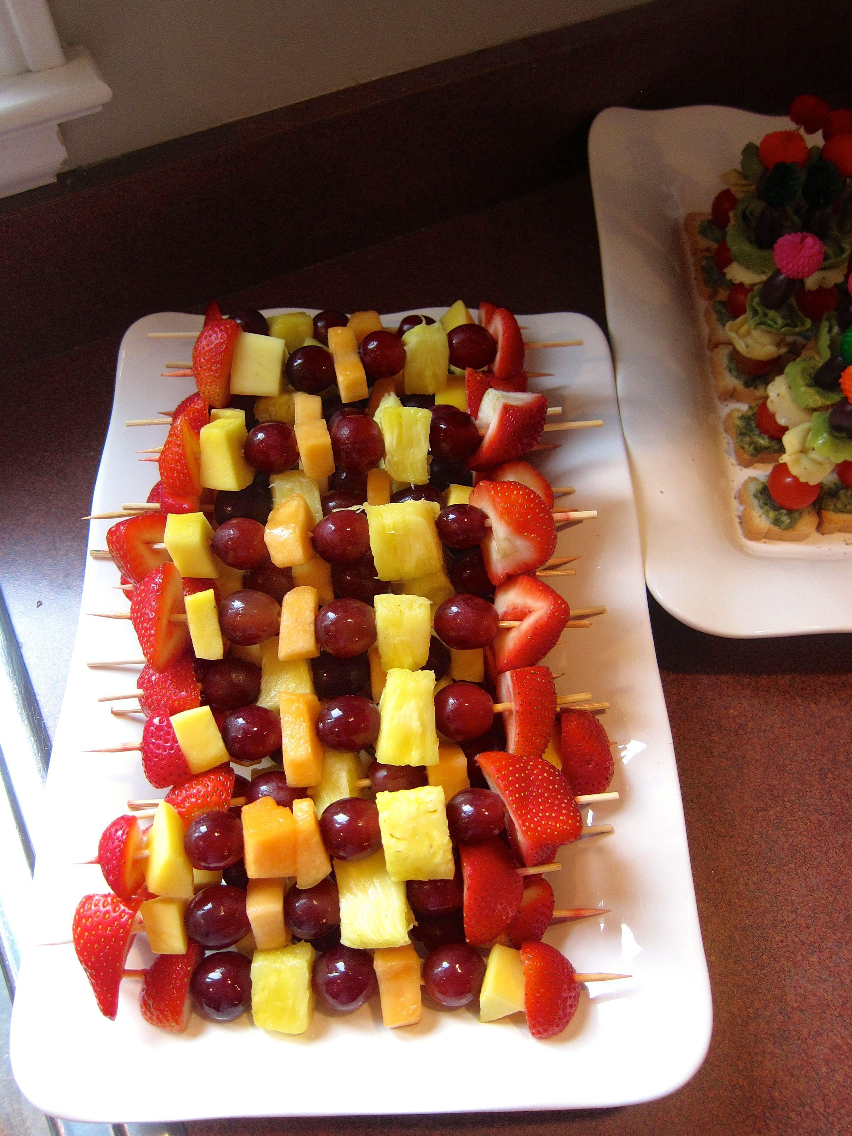 ideas for bridal shower brunch food%0A Fresh Fruit Skewers  Fruit SkewersLunch MenuShower IdeasBridal ShowerFresh  FruitBrunch
