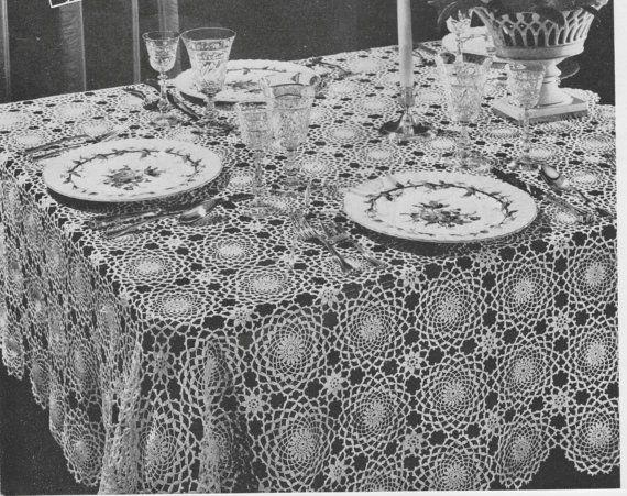 397 vintage 1940 s tablecloth crochet pattern retro home decor rh pinterest co uk