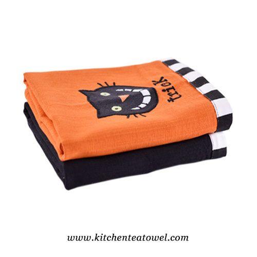 Wholesale 100 Cotton Halloween Embroidery Tea Towels Tea Towels