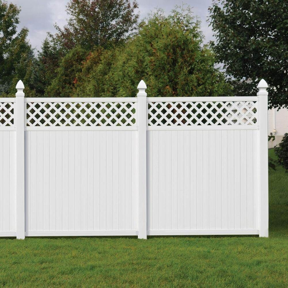 Pvc privacy fences installation uk house garden fences design surround the home with privacy protection and decoration x 6 ft lewiston lattice top vinyl fence at the home depot baanklon Choice Image
