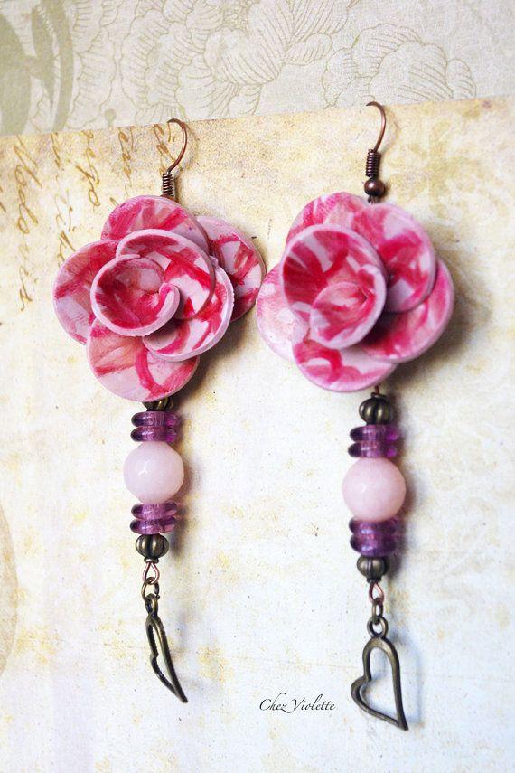 Polymer Rose Flower Heart earrings Artisanal by chezviolette