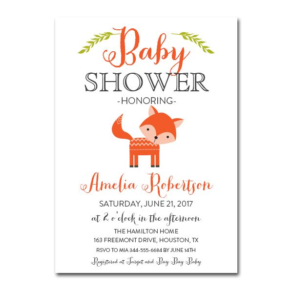 Editable Baby Shower Invitation Rustic Woodland Fox PDF Printable - Editable Baby Shower Invitations